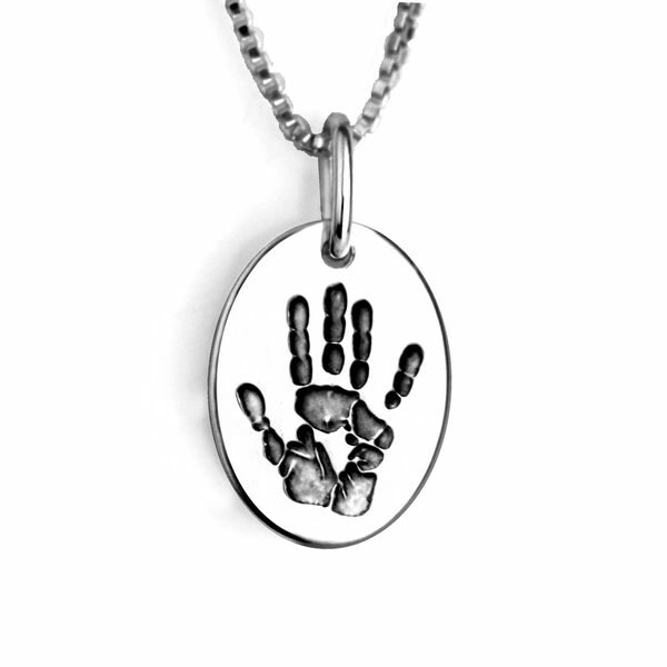 Silver Hand Print Necklace Oval