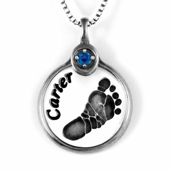 Silver Footprint Necklace with Gemstone Frame