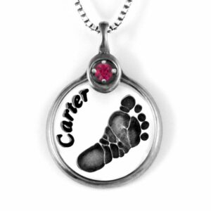 Silver Foot print Necklace with Gemstone Frame