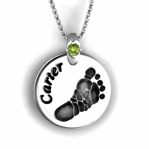 Silver Foot Print Necklace with Gemstone Accent
