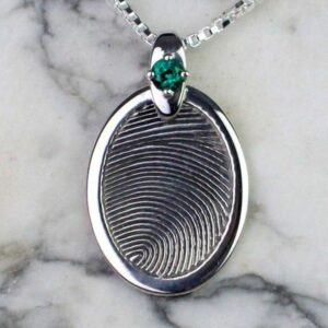 Silver Fingerprint Pendant with Gemstone