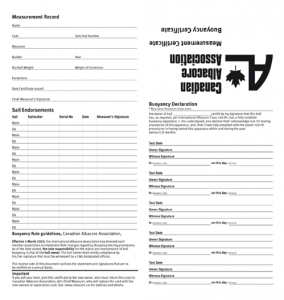 CAA Measurement Certificate