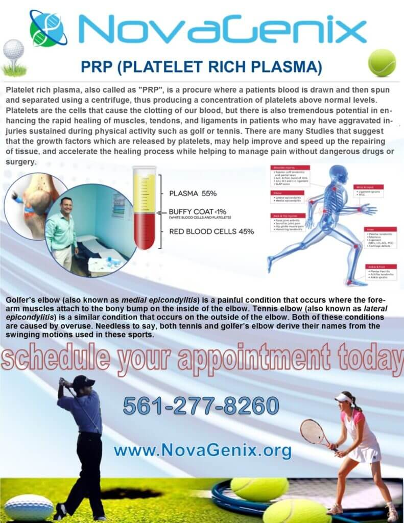 platelet rich plasma therapy for golf and tennis in Jupiter, at NovaGenix helps heal sports injuries on the course and courts.