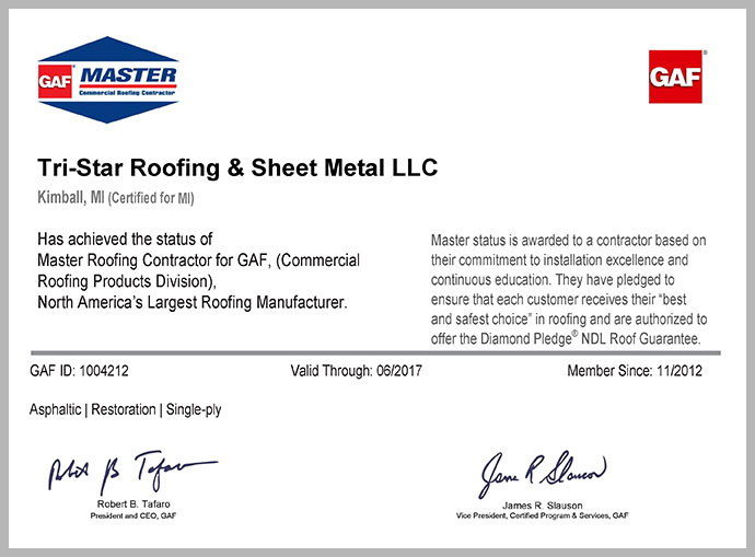 Tri-Star Achieves Master Roofing Contractor status