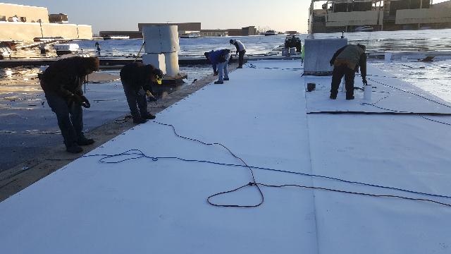 Tri-Star Roofing Team setting rolls