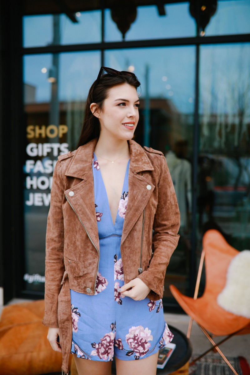 Spring Essentials/Never Without Lipstick/Suede jacket, floral romper