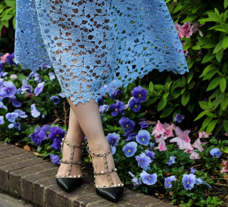 Spring Dress Guide by Never Without Lipstick//Blue lace dress, Easter dress, lace dress, periwinkle dress, Valentino rockstud heels