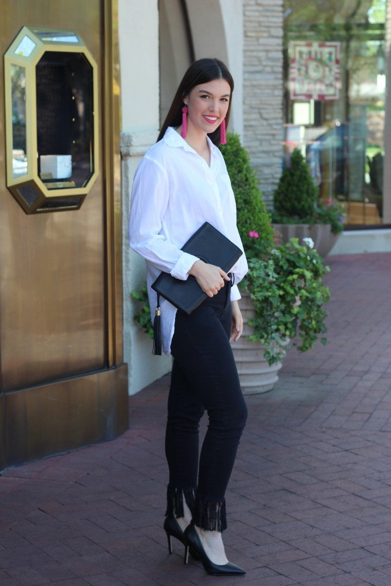 Style Fray Hem for Work and Play//Never Without Lipstick//fray hem denim, fray hem jeans, fray hem outfit, spring 2017 trends, fray hem trend, workwear, pinterest outfits, OOTD