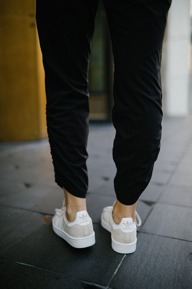 Style blogger Ashley Deatherage of Never Without Lipstick wears fall athleisure outfits | athleisure outfits, fall athleisure, athleisure, athleisure fashion, athleisure office, athleisure shoes, adidas campus sneaker, fall fashion, fall outfit ideas