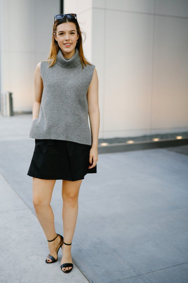 Style blogger Ashley Deatherage shares her third outfit in a series of fall workwear outfits | Never Without Lipstick | office workwear, corporate workwear, casual workwear, desk to drinks outfit, desk to dinner outfit, fall outfit idea, fall workwear outfit, fall workwear, work wardrobe, turtleneck outfit, sleeveless turtleneck