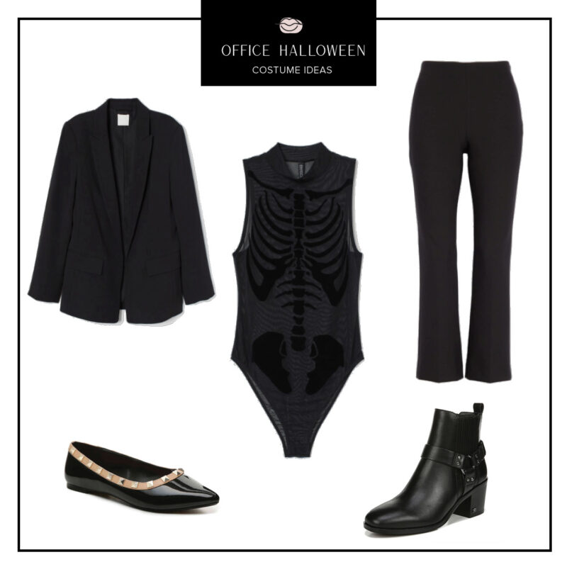Easy Office Halloween Costumes Ideas featured by top US fashion blog, Never Without Lipstick: sleek skeleton | office halloween costumes ideas, easy halloween costumes, quick halloween costumes, work halloween costumes