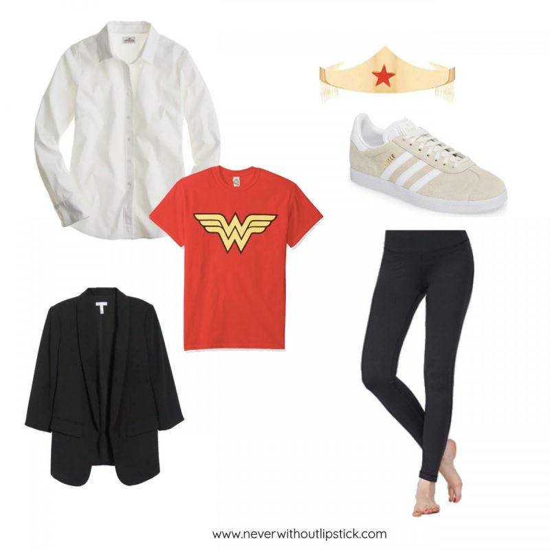 Style blogger Ashley Deatherage of Never Without Lipstick shares 3 easy, office appropriate Halloween costume ideas | halloween costumes, diy halloween costumes, halloween costumes for work, easy halloween costumes, halloween costumes for women, wonder woman costume | Halloween Costume Ideas for the Office featured by top Dallas fashion blog, Never Without Lipstick