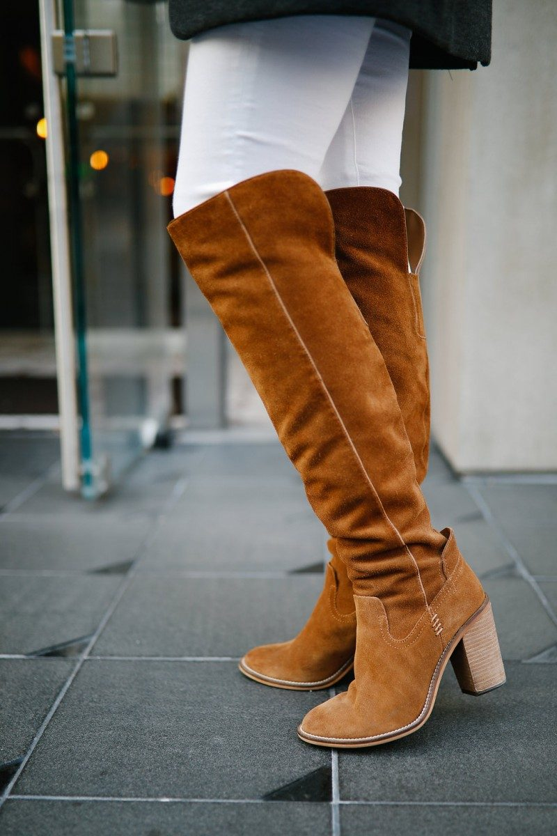 Style blogger Ashley of Never Without Lipstick shares her 10 favorite pairs of boots | over the knee boots, boots fall, boots outfit, sam edelman boots, marc fisher booties, boots fall 2017, booties 2017 outfits, casual outfits, fall outfits | Cute Boots and Booties featured by top US fashion blog, Never Without Lipstick: image of Dolce Vita OTK boots