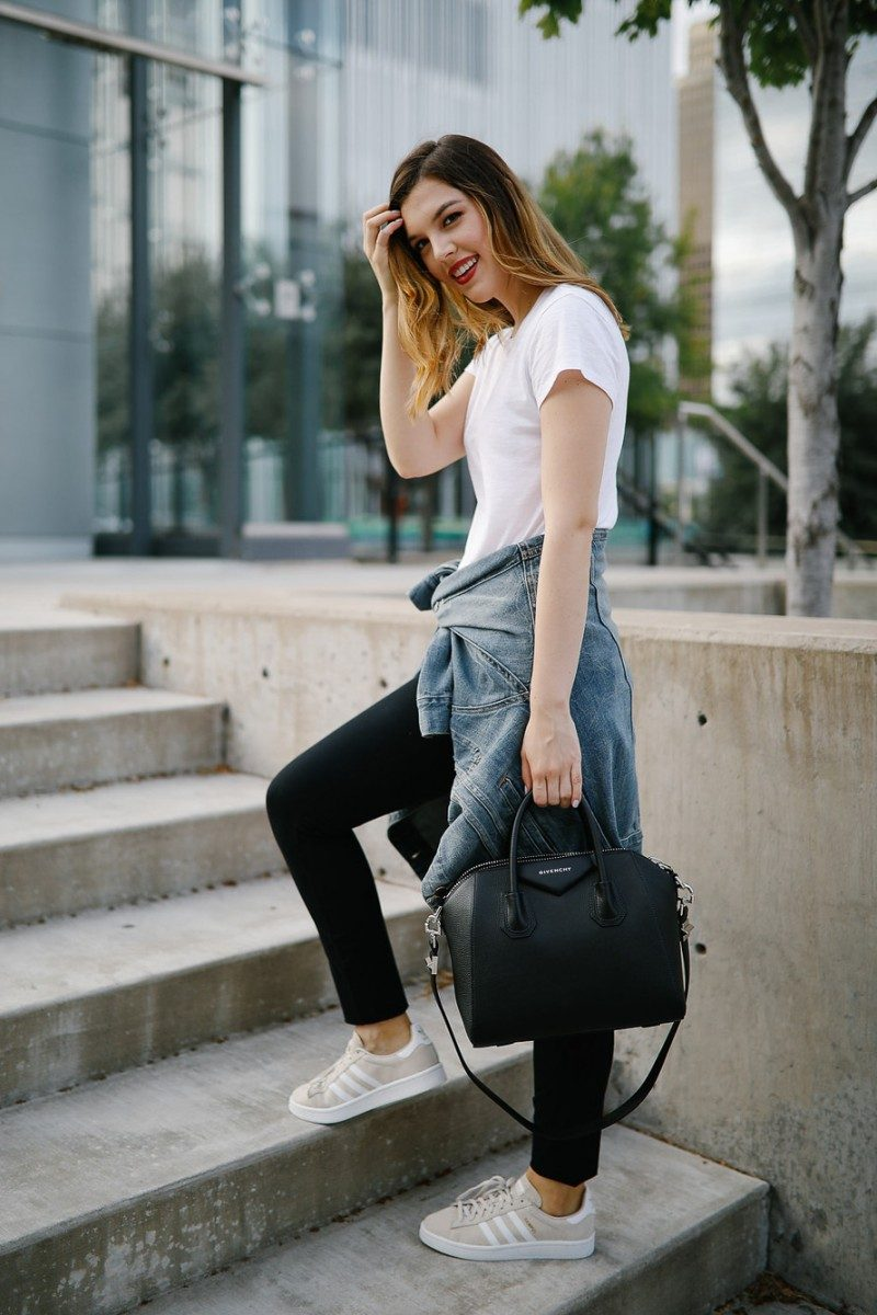 Style blogger Ashley of Never Without Lipstick wears three warm weather fall outfits | fall outfits warm weather, fall outfit layers, casual fall outfits warm weather, fall outfit, casual fall outfit, adidas campus, sneakers outfit, givenchy antigona small