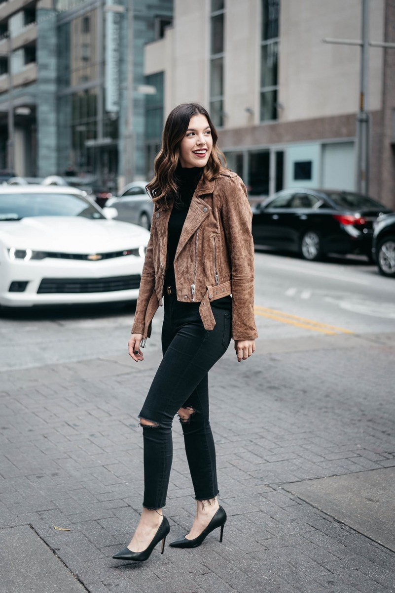 Style blogger Ashley of the Dallas style blog, Never Without Lipstick, shares her top 5 fall investment pieces   investment pieces wardrobe, suede jacket, suede moto jacket, moto jacket outfit, suede jacket outfit, small gucci belt, pointy toe heels, turtleneck outfit fall, turtleneck outfit winter