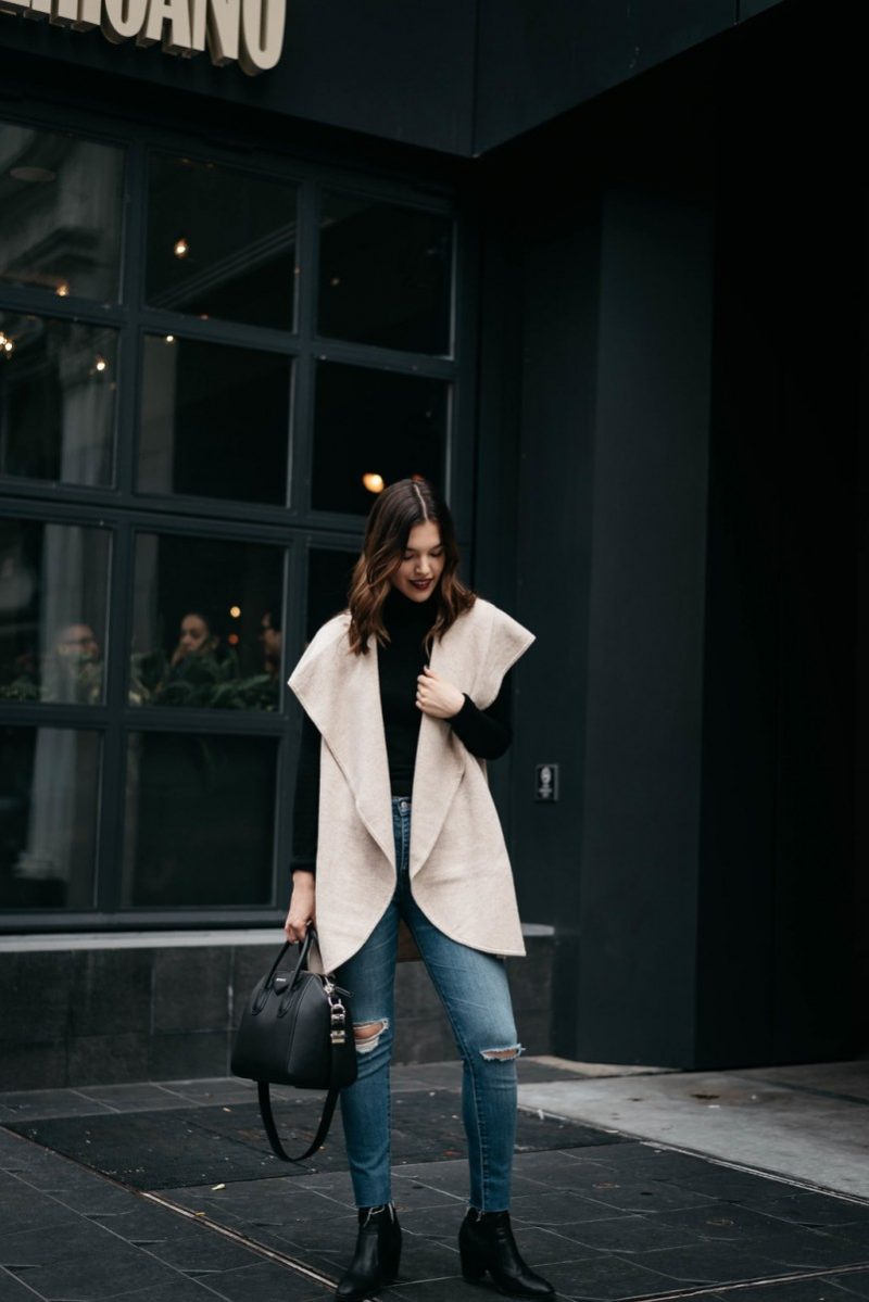 shawl vest | turtleneck | jeans | boots | holiday travel outfits | Casual holiday travel outfits | Nordstrom | H&M | ASOS | Anthropologie | 10 Comfy Essentials for a Holiday Travel Outfit featured by top Dallas fashion blog Never Without Lipstick