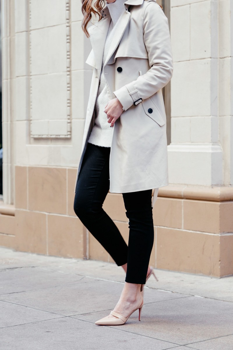 Popular Dallas style blogger Never Without Lipstick wears a cream turtleneck sweater and Club Monaco trench coat for a winter neutrals outfit | winter outfit, trench coat outfit, neutrals outfit, chic office style, louboutin pump, louboutin actina pump