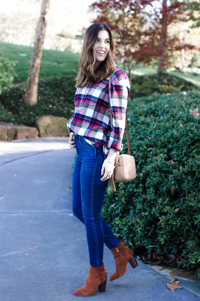 Popular Dallas style blogger Never Without Lipstick shares the best flannels under $50 | flannel outfit, fall outfit idea, flannel jeans outfit, gucci disco soho mini, winter outfit idea, casual outfit idea