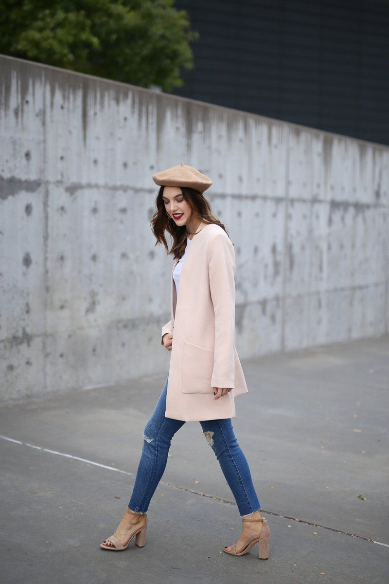Style blogger, Ashley Deatherage, of Never Without Lipstick wears beret, pink coat, light wash denim outfit | update your style, style tips, beret outfit, pink coat, winter outfit, chic workwear outfit
