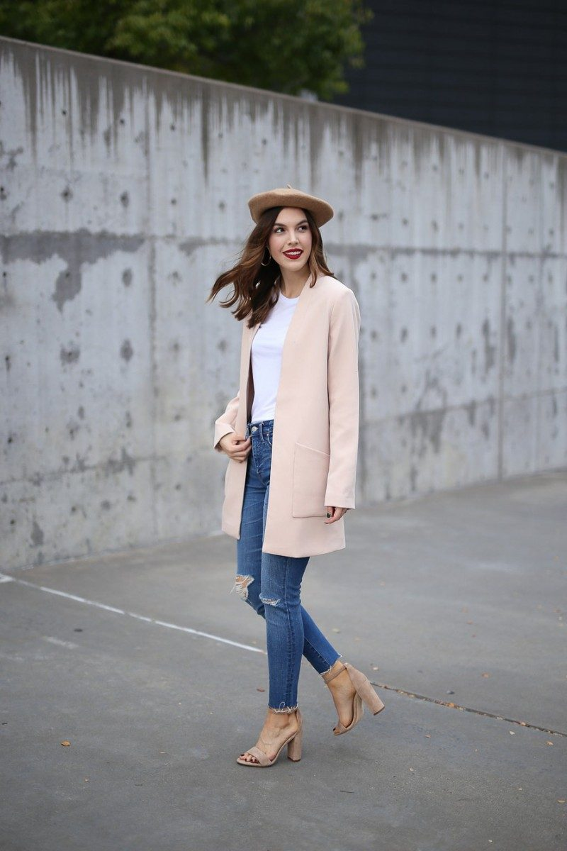 Style blogger, Ashley Deatherage, of Never Without Lipstick wears beret, pink coat, light wash denim outfit | update your style, style tips, beret outfit, pink coat, winter outfit, chic workwear outfit  | 5 Wardrobe Essentials to Update Your Style by top Dallas fashion blog Never Without Lipstick