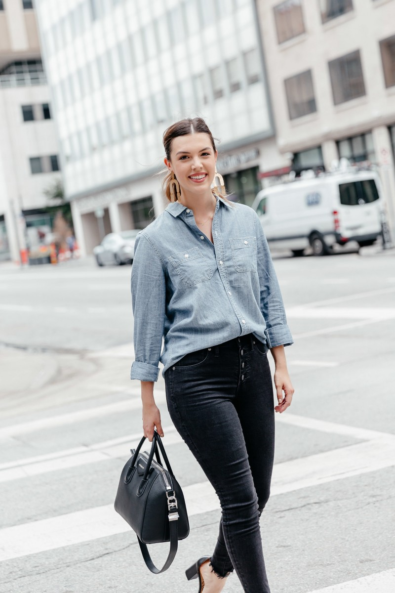 XXX | fall work outfits, casual fall work outfit, fall work outfits jeans, trendy fall work outfits, fall outfit idea, fall outfit inspo, givenchy antigona, chambray shirt outfit | | 5 Easy Fall Work Outfits featured by popular Dallas fashion blogger, Never Without Lipstick