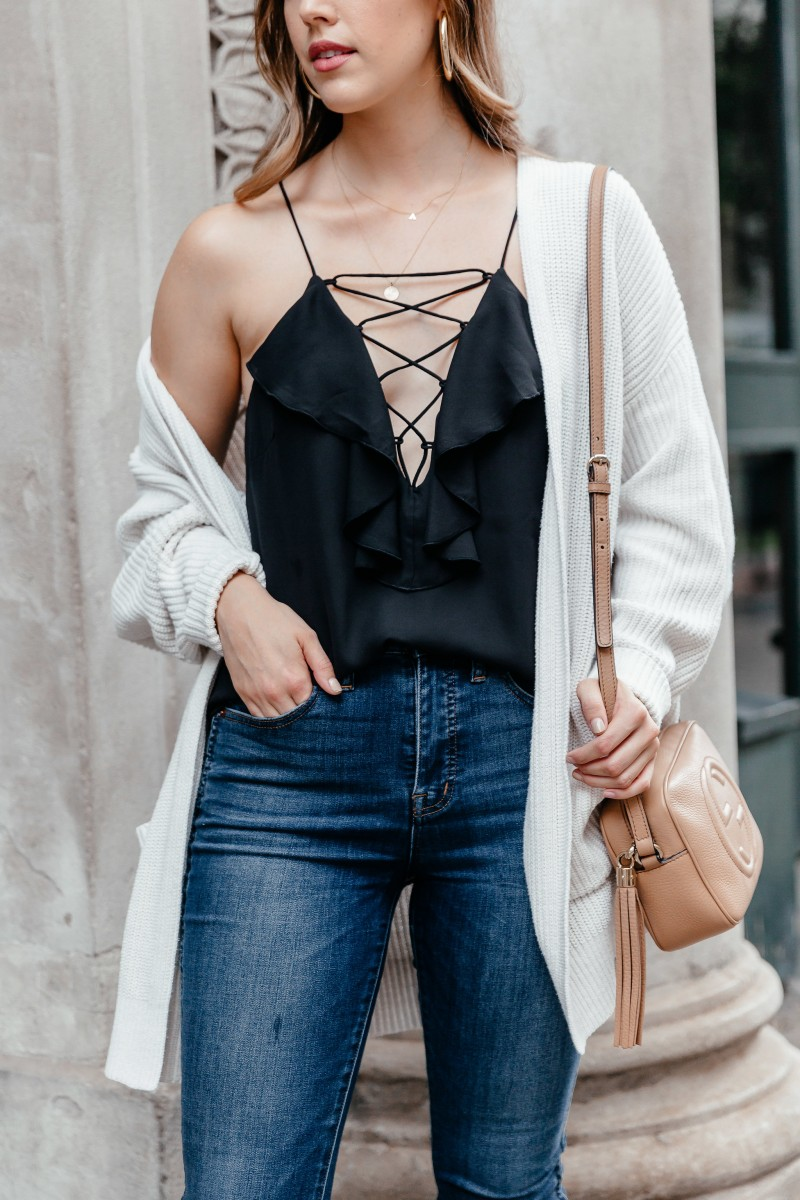 | Summer to Fall Outfits featured by popular Dallas fashion blogger, Never Without Lipstick: Cami + Cardigan