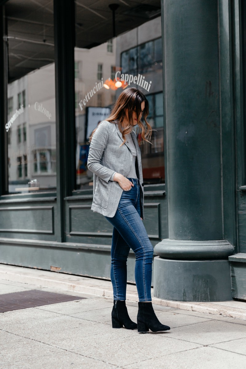 Popular Dallas style blogger Never Without Lipstick shares her fall essentials shopping list for fall 2018 | fall essentials, fall shopping list, fall outfit, plaid blazer outfit, block heel booties outfit, madewell jeans, fall outfits 2018, classy fall outfits