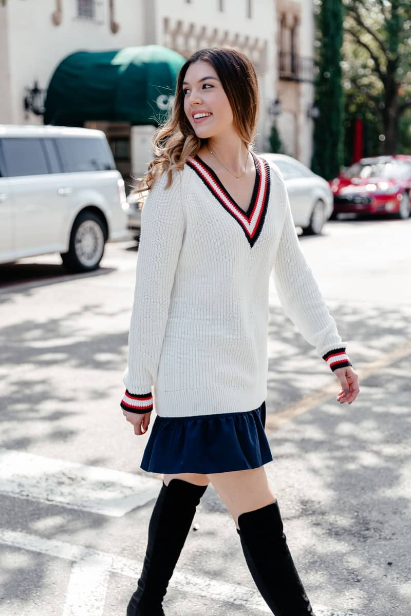 sweaters, sweater weather, fall sweaters 2018, stuart weitzman reserve boot, stuart weitzman boot outfit, varsity sweater, sweater outfit, fall sweaters outfit, sweater skirt outfit | Cozy Fall Sweaters under $75 featured by top Dallas fashion blog, Never Without Lipstick