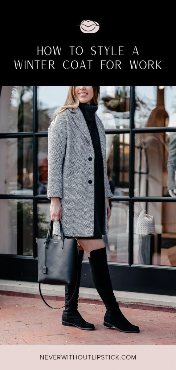 herringbone coat outfit, herringbone coat winter, herringbone coat women, turtleneck sweater dress, ysl toy shopping tote, stuart weitzman reserve boot, over the knee boots outfit, winter workwear, winter outfit idea, sweater dress outfit | Topshop Herringbone coat styled by top Dallas fashion blog, Never Without Lipstick