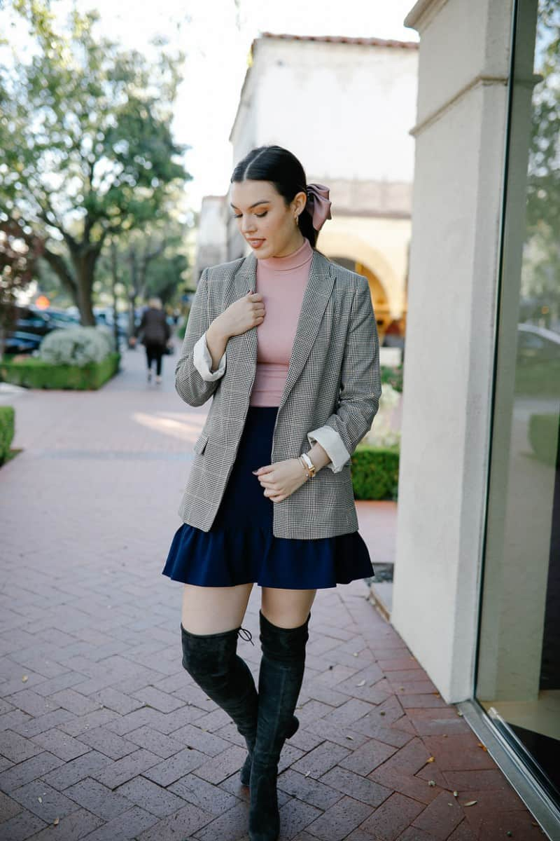 plaid blazer outfit, affordable plaid blazers, plaid blazer outfit street fashion, plaid blazer womens, stuart weitzman tieland boot, over the knee boot outfit, hair bow tutorial | Fall plaid blazers featured by top Dallas fashion blog, Never Without Lipstick: H&M Plaid Blazer
