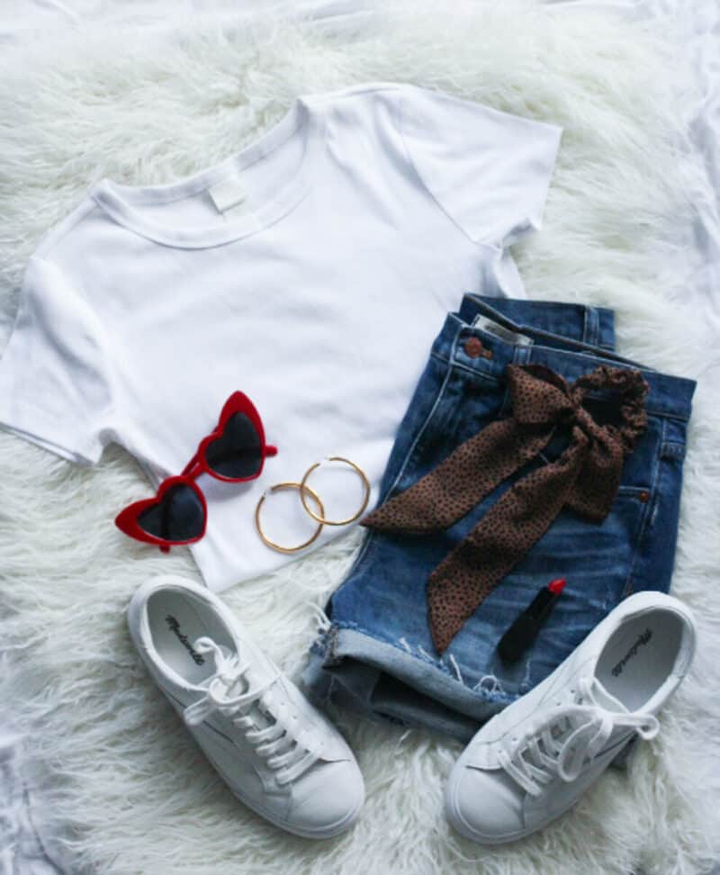 Top US fashion blog Never Without Lipstick shares her must-have summer essentials | madewell jean shorts, flatlay fashion, flatlay outfit, flatlay photography, madewell white sneakers