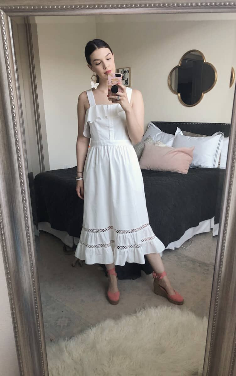 Top US fashion blog Never Without Lipstick shares her must-have summer essentials | midi dress, summer midi dress, shoshanna midi dress, castaner espadrilles, castaner chiara espadrilles