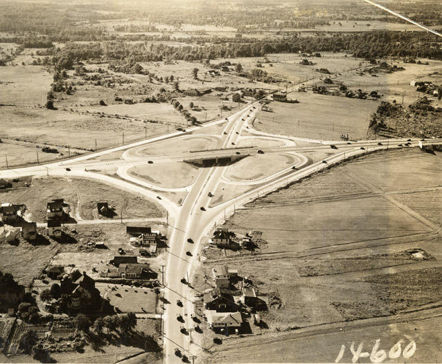 November 1931, the Engineering News-Record reported on the first cloverleaf highway interchange in the U.S. Located in Woodbridge, NJ, the cloverleaf was hailed as ''an outstanding development'' in traffic engineering