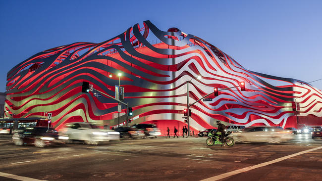 The Petersen Automotive Museum delights car buffs and architectural aficionados alike
