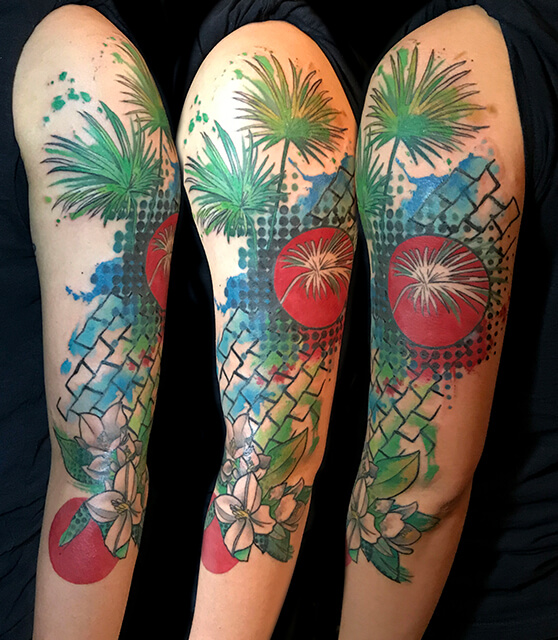 Palm leaves and bamboo tattoo