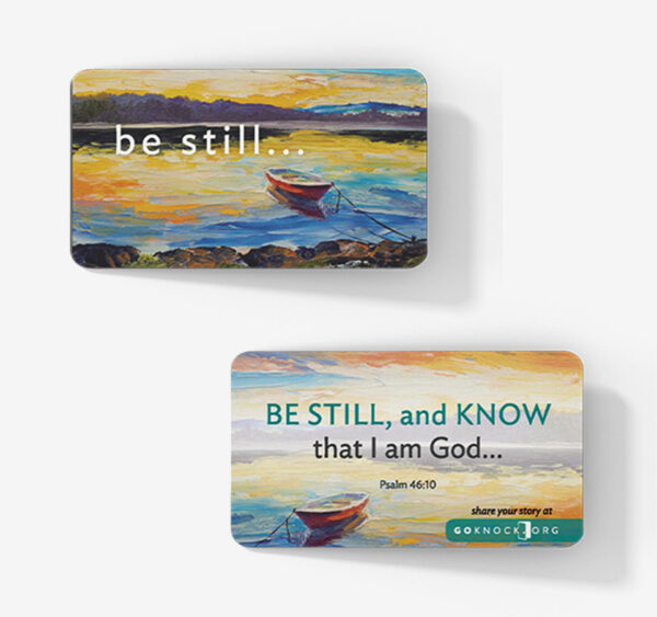 """Front and back of Be Still Card"""