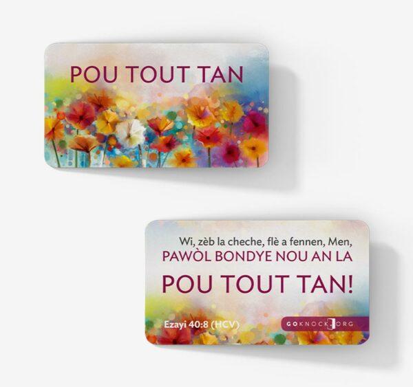 """Front and back of Pou Tout Tan card"""