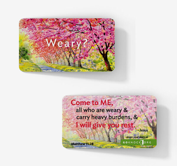 """Front and back of weary card"""
