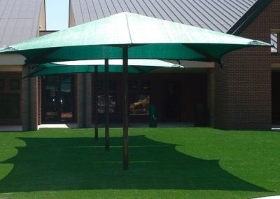 15' x 15' Single Pole Umbrella Shade Canopy on Artificial Grass Surfacing