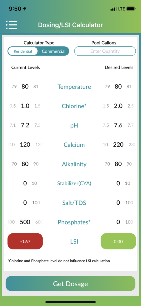 Here you can glimpse the power of the Orenda Technology App. This amazing software allows us to measure the LSI index for your pool water. As you can see from the image, by booster the pH & Calcium of the pool water, we are able to restore the balance to this swimming pool. It's simple in theory and highly effective at saving you money.