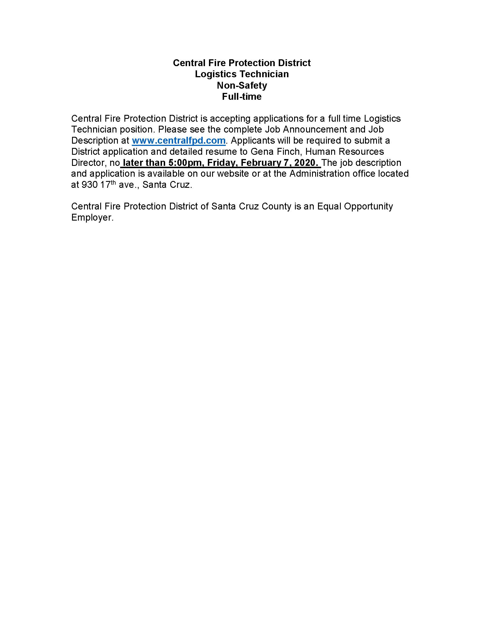 2020 Logisitics Technician-CFPD