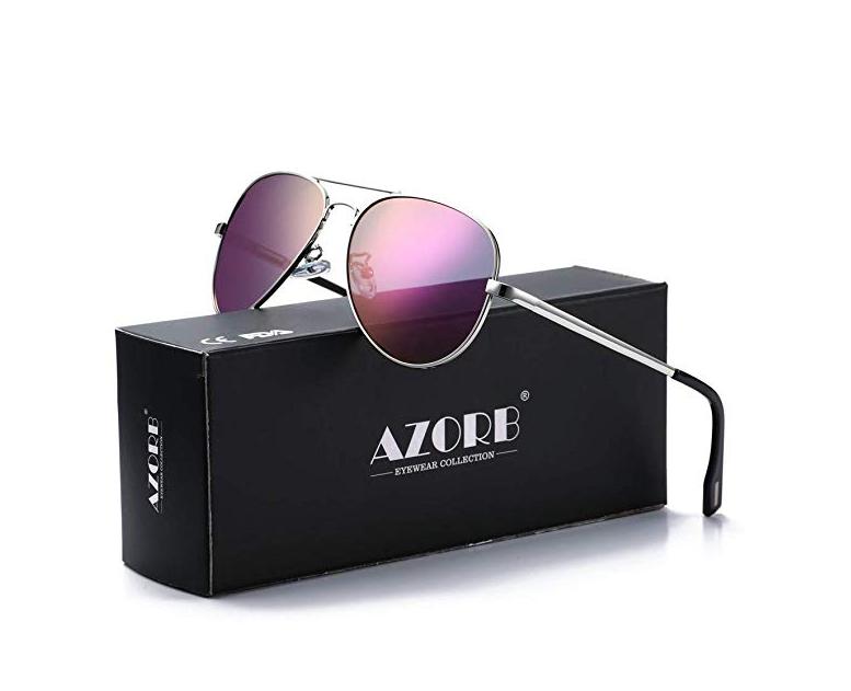 AZORB Polarized Aviator Sunglasses Mirrored Lens Metal Frame for Men Women, 100% UV 400 Protection