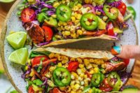 blackened salmon and charred corn tacos