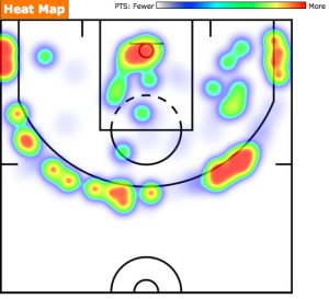 Danny Green 2014-15 Heat Map  Courtesy of Basketball-Reference.com