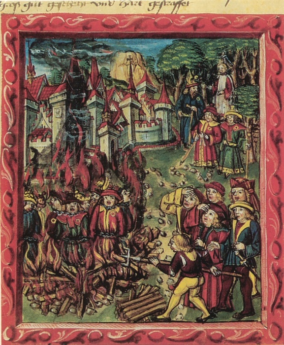Manuscript from 1515 that depicts Jews being burned at the stake in Lucerne, Switzerland. The Jews are clearly identified by their yellow badges.