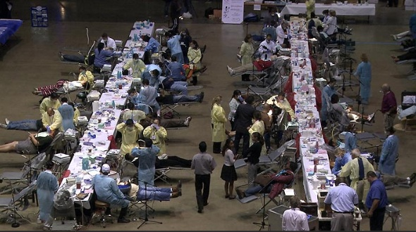 Thousands of people are converging on the LA Forum for free medical care - if you know a doc or dentist in LA - send them here.