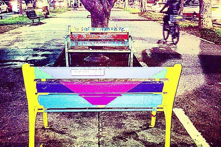 Bench on Rothschild Blvd, Tel Aviv, by Michelle Appelbaum