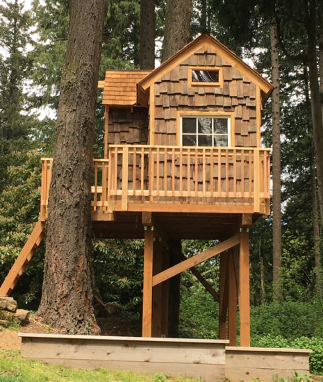 Platform playhouse side view with deck railing