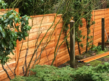 stepped Horizontal overlap fence for privacy