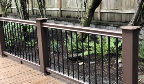 Timbertech Radiance Rail in Kona with Black Aluminum Balusters